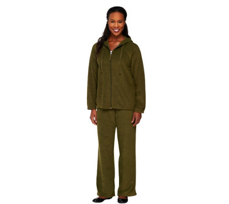 Stan Herman Brushed Back Terry 2-pc. Hooded Lounge Set