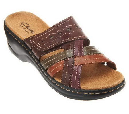 Clarks Leather Triple Strap Slides - Lexi Ember