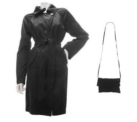 Dennis Basso Packable Taffeta Trench Coat with Belt and Bag