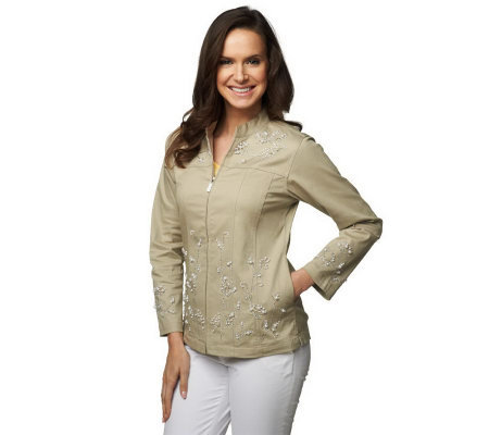 Quacker Factory Pearly Floral Embellished Zip Front Mandarin Collar Jacket