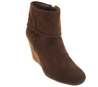Isaac Mizrahi Live! Suede Wedge Ankle Boots - A227076