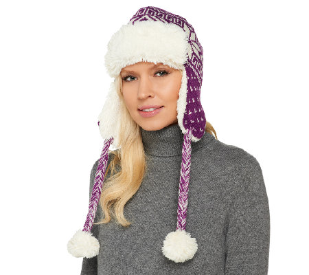 MUK LUKS Snowflake Knitted Faux Fur Trapper Hat