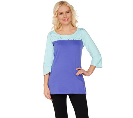 Quacker Factory Sparkle & Shine Color-Block 3/4 Sleeve T-shirt