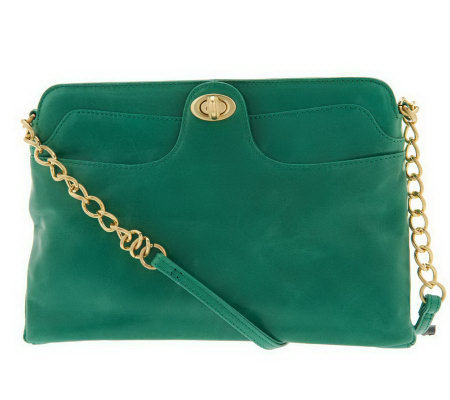 Hobo Leather Farrah Shoulder Bag with Chain Detail