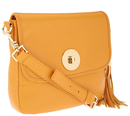 """As Is"" Isaac Mizrahi Live! Bridgehampton Leather Crossbody"