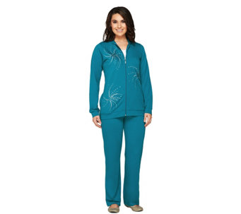Quacker Factory Sequin Swirl Jacket and Pants Set - A239976