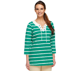 Susan Graver Weekend Striped French Terry Top with Lacing Detail - A252476