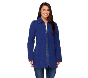 Dennis Basso Zip Front Jacket with Front Pockets & Trim Detail - A252676