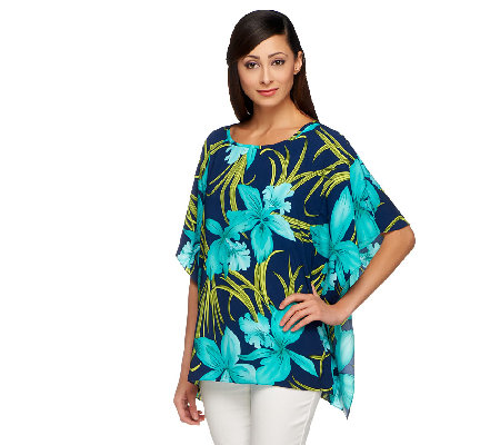 Susan Graver Printed Split Sleeve Scarf Top with Back Detail