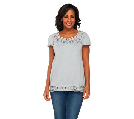 Edge by Jen Rade Short Sleeve Top with Lace