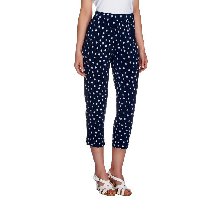 Susan Graver Printed Liquid Knit Petite Crop Pants