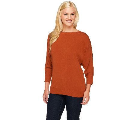 Susan Graver Plush Knit Bateau Neck Dolman Sleeve Sweater