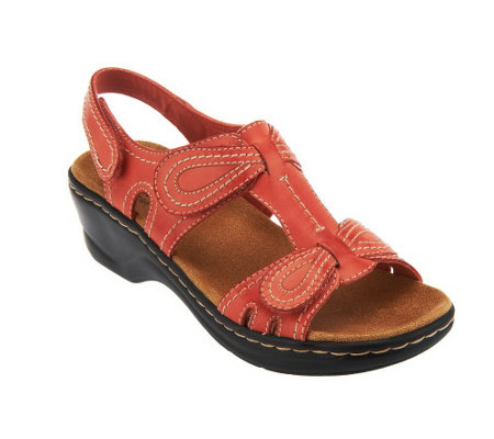 """As Is"" Clarks Leather Sandals w/Adjustability - Lexi Walnut"