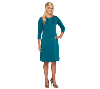 Bob Mackie's Ponte Knit Embroidered Neckline Dress - A258776