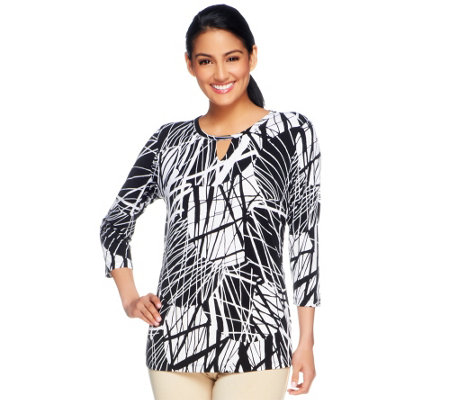 """As Is"" Susan Graver Liquid Knit Printed 3/4 Sleeve Top"