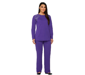 Quacker Factory French Terry Hi-Low Hem Pullover and Pants Set - A260376