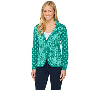 Isaac Mizrahi Live! Engineered Paisley Sweater Blazer - A262076