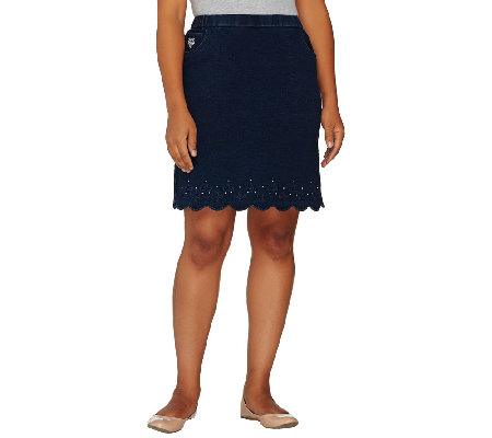 Quacker Factory DreamJeannes Smile N' Style Scalloped Skort