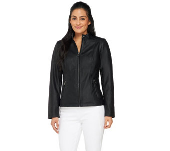 Dennis Basso Faux Leather Jacket with Stand Collar - A263176