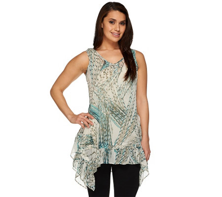 LOGO by Lori Goldstein Sheer Printed Sleeveless Top with Ruffle Hem