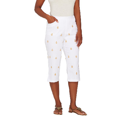 Quacker Factory Good as Gold Embroidered Woven Capri Pant