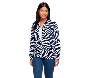 """As Is"" Susan Graver Printed French Terry Long Sleeve Bomber Jacket - A263676"