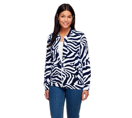 """As Is"" Susan Graver Printed French Terry Long Sleeve Bomber Jacket"