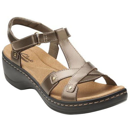 Clarks Leather T-Strap Sandals w/ Back Strap - Hayla Flute