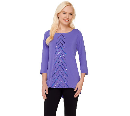 Bob Mackie's 3/4 Sleeve Knit Top with Chevron Sequin Front Detail