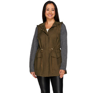 LOGO by Lori Goldstein Twill Anorak with French Terry Sleeves - A266776