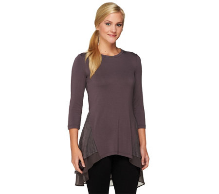 """As Is"" LOGO by Lori Goldstein Knit Top with Embroidered Mesh Detail"