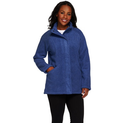 Denim & Co. Fleece Zip Front Long Sleeve Jacket w/ Pockets