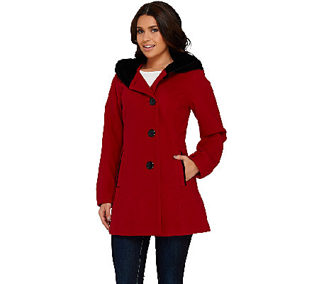 Susan Graver Faux Wool Coat with Velvet Pillow Collar Hood