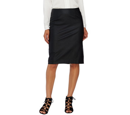 Susan Graver Faux Leather Skirt with Ponte Back