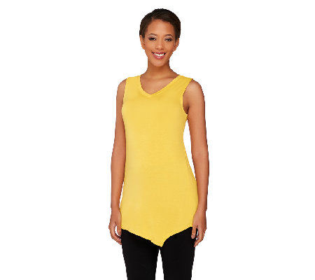 """As Is"" LOGO Layers by Lori Goldstein Petite Tank w/ Angled Hem"