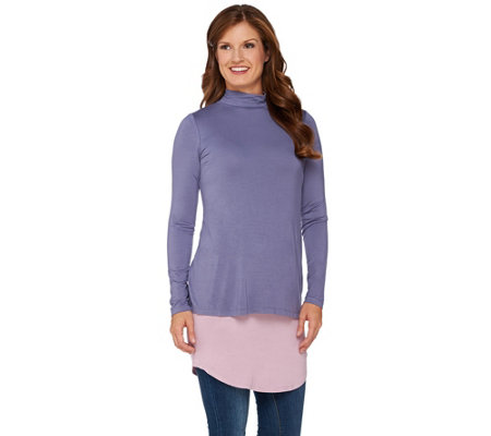 LOGO by Lori Goldstein Twin Set Mock Turtleneck Top with Tank