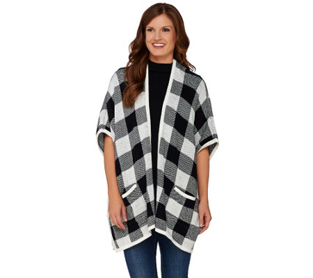 Denim & Co. Plaid Jacquard Open Front Poncho with Pockets