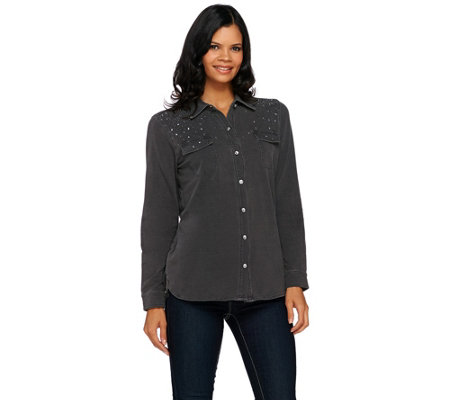 Quacker Factory DreamJeannes Be Jeweled Button Front Shirt