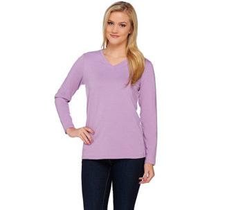 Denim & Co. Essentials Jersey V-neck Long Sleeve Top - A271576