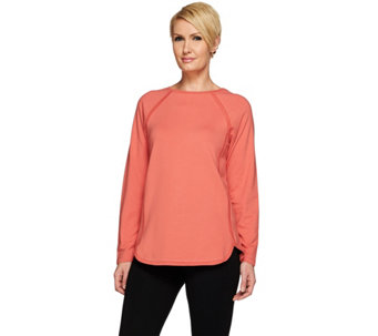 Denim & Co. Active French Terry Curved Hem Top with Seaming Detail - A273076