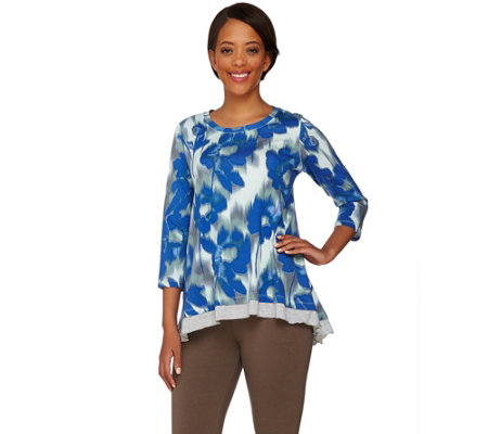 LOGO by Lori Goldstein Printed Knit Top with Heathered Trim