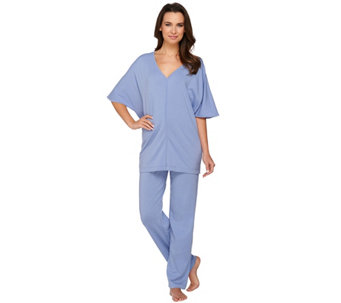 AnyBody Loungewear Cozy Knit V-Neck Drop Shoulder PJ Set - A275076