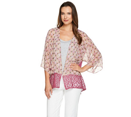 LOGO by Lori Goldstein Printed Chiffon Kimono with Lace Trim