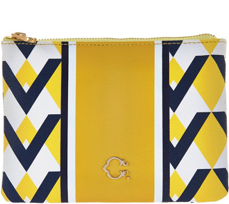 C. Wonder Graphic Geo Stripe Print Zip Top Pouch