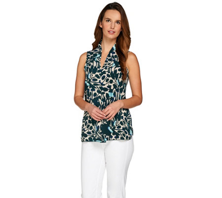 Kelly by Clinton Kelly V-Neck Pleated Front Sleeveless Top
