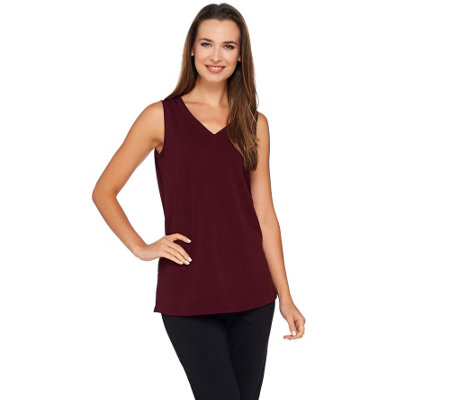 """As Is"" Susan Graver Passport Knit V-neck Tank"