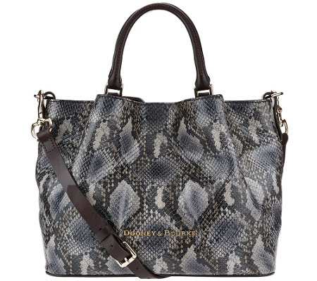 """As Is"" Dooney & Bourke City Python Embossed Medium Leather Barlow Satchel"