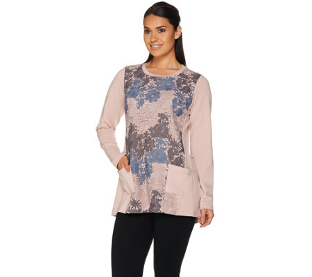 LOGO Lounge by Lori Goldstein French Terry Top with Tri-Color Lace