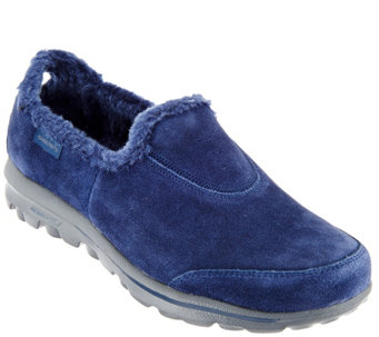 """As Is"" Skechers GOwalk Suede Faux Fur Shoes - Comfy - A279876"