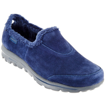 """As Is"" Skechers GOwalk Suede Faux Fur Shoes - Comfy"